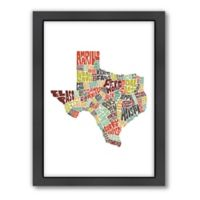 Americanflat Texas Typography Map Digital Print Wall Art in Color