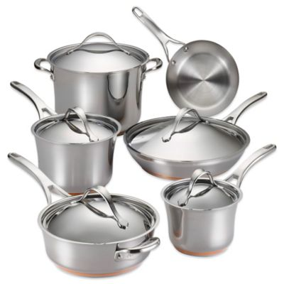anolon nouvelle copper stainless steel 11piece cookware set