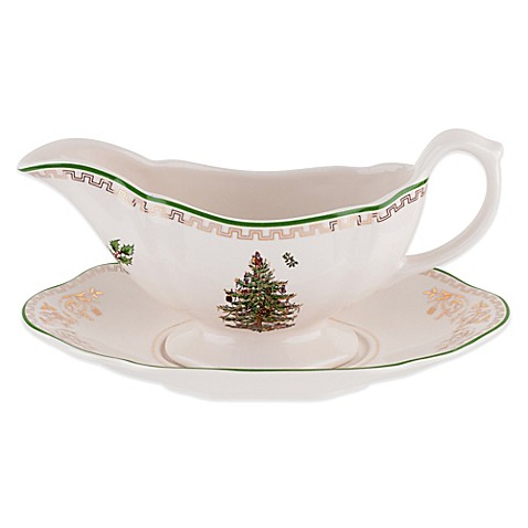 Spode Christmas Tree Gold Gravy Boat And Stand Bed Bath Beyond