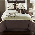 Camisha Full Comforter Set in Green/Chocolate