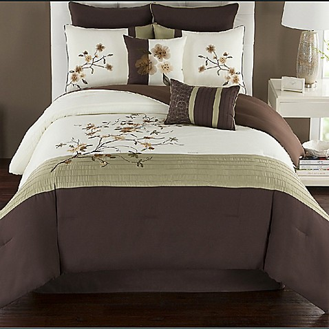 Camisha Comforter Set In Green Chocolate Bed Bath Amp Beyond