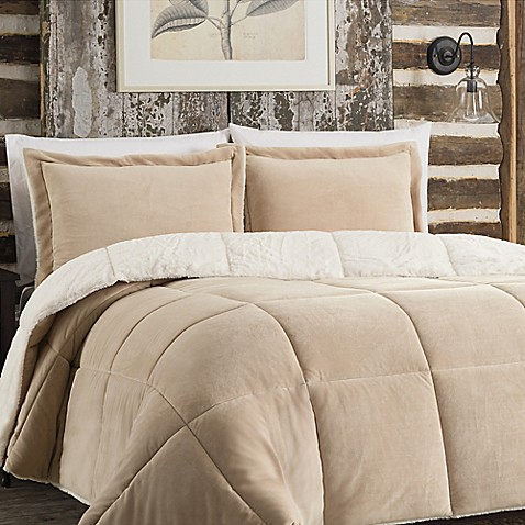 So soft plush reversible comforter set in tan bed bath - Bed bath and beyond bedroom furniture ...