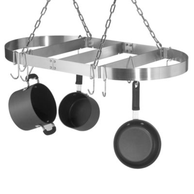 calphalon oval ceiling stainless steel pot rack