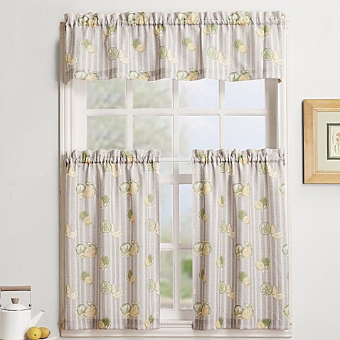buy fruit stripe window curtain valance in linen from bed bath beyond. Black Bedroom Furniture Sets. Home Design Ideas