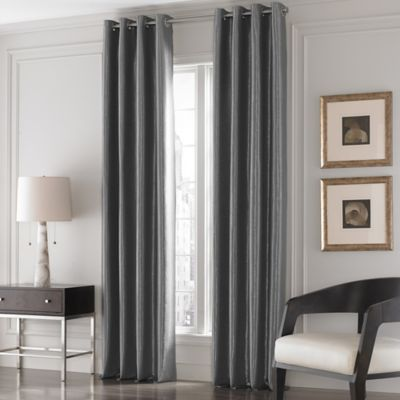 Great Valeron Lustre Solid 95 Inch Window Curtain Panel In Charcoal