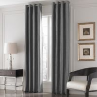 Valeron Lustre Solid 95-Inch Window Curtain Panel in Charcoal