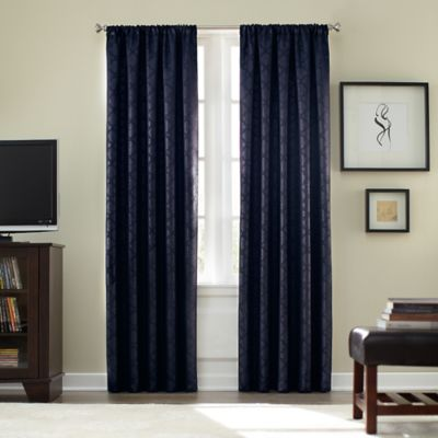 Athena Rod Pocket Blackout 84 Inch Window Curtain Panel In Navy