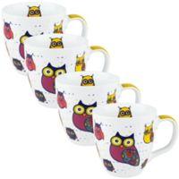 Konitz Owl Mugs in White (Set of 4)