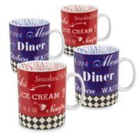 Konitz American Diner Mugs in Red/Blue (Set of 4)