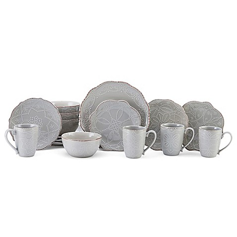 Gourmet Basics by Mikasa® Serena 16-Piece Dinnerware Set in Grey  sc 1 st  Bed Bath u0026 Beyond & Gourmet Basics by Mikasa® Serena 16-Piece Dinnerware Set in Grey ...