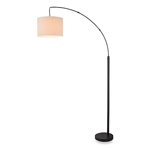 Adesso arc floor lamp in antique bronze with burlap shade bed bath beyond - Arc floor lamp shade ...