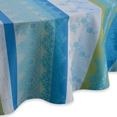 Garnier Thiebaut Cup Of Tea 71 Inch Round Tablecloth In Turquoise