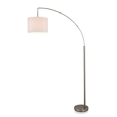 Adesso 174 Arc Floor Lamp In Satin Steel With Linen Shade