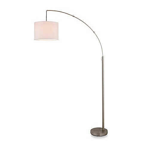 adesso arc floor lamp in satin steel with linen shade with cfl bulb. Black Bedroom Furniture Sets. Home Design Ideas