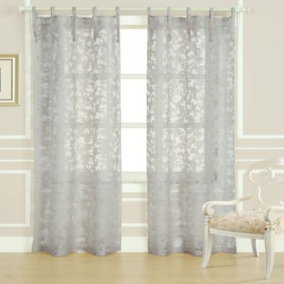 Laura Ashley® Rothbury 84 Inch Burnout Window Curtain Panel Pair In Taupe
