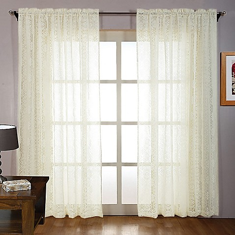 laura ashley 84 inch tile lace window curtain panel pair. Black Bedroom Furniture Sets. Home Design Ideas