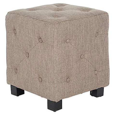 Buy Angelo Home Duncan Small Tufted Cube Ottoman In Smoke