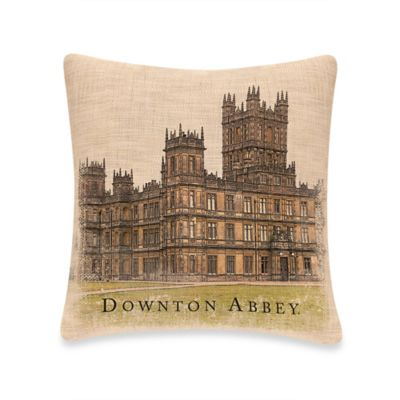 downton abbey castle square throw pillow in natural