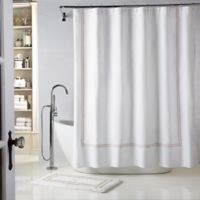 Wamsutta® Baratta Stitch 72-Inch x 72-Inch Shower Curtain in White/Taupe
