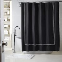 Wamsutta® Baratta Stitch 54-Inch x 78-Inch Stall Shower Curtain in Black/White