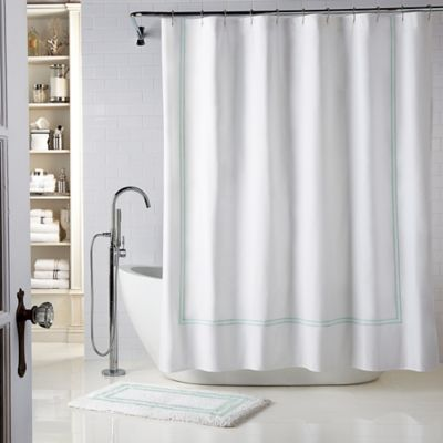 wamsutta baratta stitch 72inch x 96inch shower curtain in white