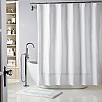 Wamsutta® Baratta Stitch 72-Inch x 72-Inch Shower Curtain in White/Seaglass