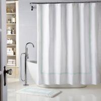 Wamsutta® Baratta Stitch 54-Inch x 78-Inch Stall Shower Curtain in White/Seaglass