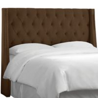 Skyline Furniture Full Tufted Nail Button Wingback Headboard in Velvet Chocolate