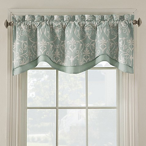 Salisbury embroidered valance bed bath beyond Bathroom valances for windows