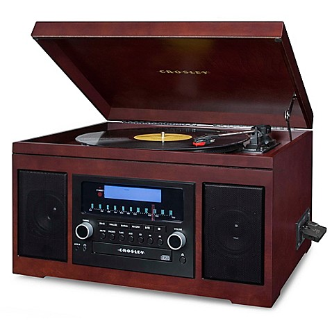 crosley cannon cd recording entertainment center in mahogany bed bath beyond. Black Bedroom Furniture Sets. Home Design Ideas