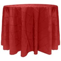 Bombay Diamond-Stitched Pintuck 90-Inch Round Tablecloth in Red
