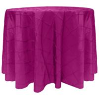 Bombay Diamond-Stitched Pintuck 90-Inch Round Tablecloth in Raspberry