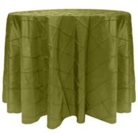 Bombay Diamond-Stitched Pintuck 90-Inch Round Tablecloth in Moss