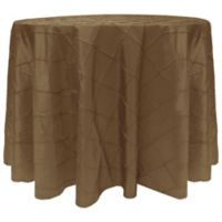 Bombay Diamond-Stitched Pintuck 90-Inch Round Tablecloth in Burnt Gold