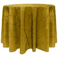 Bombay Diamond-Stitched Pintuck 90-Inch Round Tablecloth in Acid Green