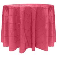 Bombay Diamond-Stitched Pintuck 108-Inch Round Tablecloth in Watermelon