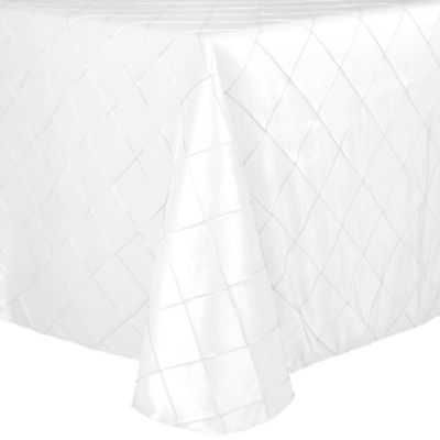 Merveilleux Bombay Diamond Stitched Pintuck 90 Inch X 132 Inch Oblong Tablecloth In  White