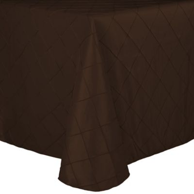 Bombay Diamond Stitched Pintuck 90 Inch X 132 Inch Oblong Tablecloth In  Chocolate