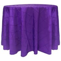 Bombay Diamond-Stitched Pintuck 120-Inch Round Tablecloth in Purple