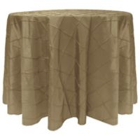 Bombay Diamond-Stitched Pintuck 120-Inch Round Tablecloth in Taupe