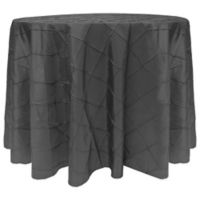 Bombay Diamond-Stitched Pintuck 132-Inch Round Tablecloth in Steel