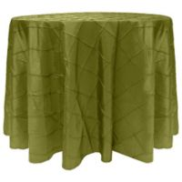 Bombay Diamond-Stitched Pintuck 132-Inch Round Tablecloth in Moss