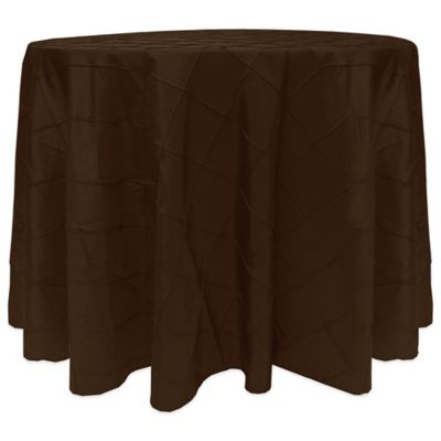 Ay Diamond Sched Pintuck 132 Round Tablecloth In Chocolate