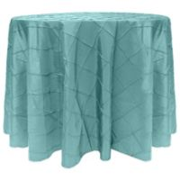 Bombay Diamond-Stitched Pintuck 132-Inch Round Tablecloth in Turquoise