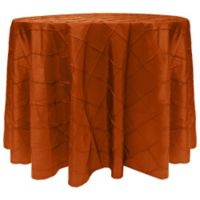 Bombay Diamond-Stitched Pintuck 132-Inch Round Tablecloth in Persimmon