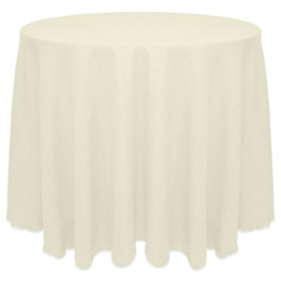 Havana Rustic Faux Burlap 120 Inch Round Tablecloth In White