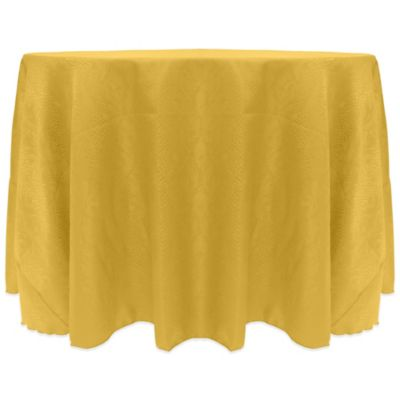 Kenya Contemporary African Inspired Damask Textured 120 Inch Round  Tablecloth In Yellow