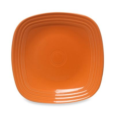 fiesta square dinner plate in tangerine