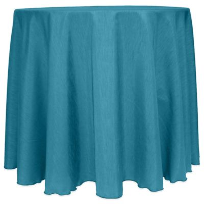 Majestic Satin Finished 90 Inch Round Tablecloth In Turquoise