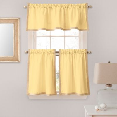 Elegant Seaview 24 Inch Window Curtain Tier Pair In Yellow
